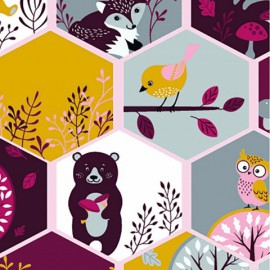 Tissu jersey Oeko tex motifs oiseaux, renards et arbres Rose, prune et moutarde