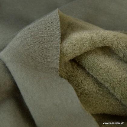 Tissu Sweat envers Minky Kaki .x1m