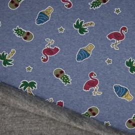 Tissu Sweat envers Minky motifs Ananas et Flamands Glitter