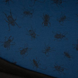 Tissu Sweat envers Minky motifs Scarabées fond bleu