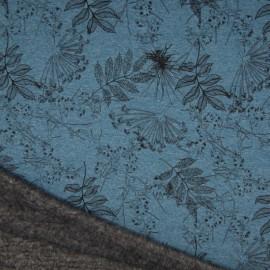 Tissu Sweat envers Minky motifs fleurs fond bleu