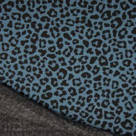 Tissu Sweat envers Minky motifs Léopard fond bleu
