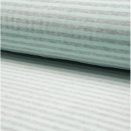 Tissu velours rasé nicky à rayures Menthe et gris