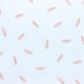 Tissu popeline Plumes cuivré fond blanc