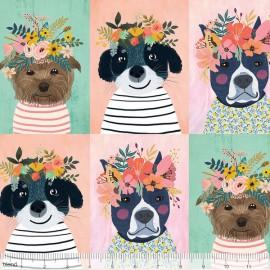 Tissu Coton imprimé chiens et Fleurs collection FLORAL PETS by Blend Fabrics