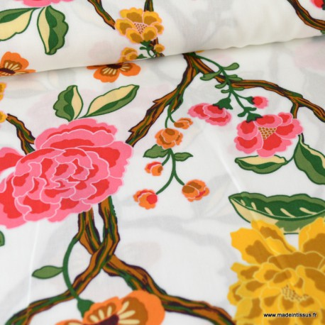 Tissu Viscose à fleurs moutarde et roses fond Blanc