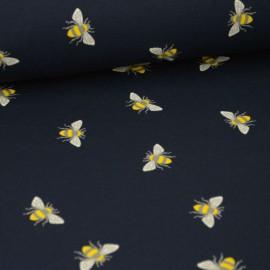 Tissu jersey Oeko tex motifs abeilles fond marine