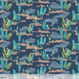 Tissu Coton imprimé Hippopotames collection Congo hippos by Blend Fabrics