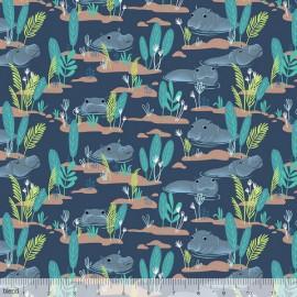 Tissu Coton imprimé Hippopotames collection Congo hippos by Blend Fabrics