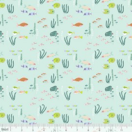 Tissu Coton imprimé Animaux de la mer collection Congo hippos by Blend Fabrics