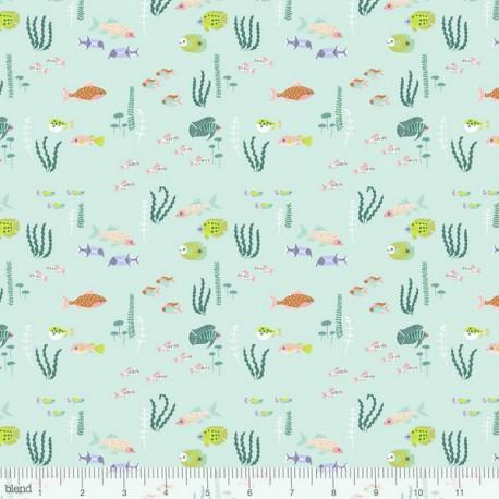 Tissu Coton imprimé Animaux de la mer collection Congo hippos by Blend Fabrics