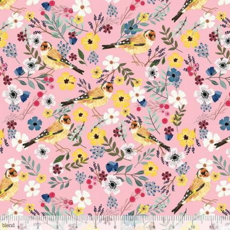 Tissu Coton imprimé Oiseaux et fleurs collection Birdie by Blend Fabrics .x1m