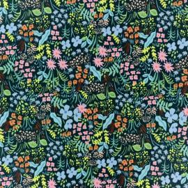 Tissu coton imprimé fleurs fond vert collection Meadow de Rifle paper pour Cotton and Steel
