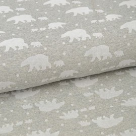 Tissu jersey french terry gris chiné floqué Ours polaire