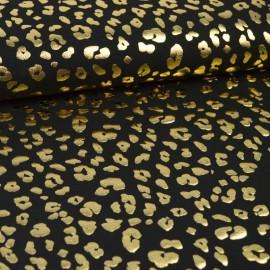 Tissu jersey Oeko tex motifs Léopard Or fond Noir