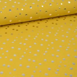 Tissu jersey Oeko tex motifs pois argentés fond Moutarde