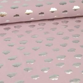 Tissu jersey Oeko tex motifs Nuages argentés fond Rose