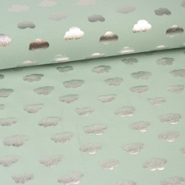 Tissu jersey Oeko tex motifs Nuages argentés fond Menthe