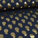 Tissu jersey Oeko tex motifs Lions cuivrés fond Marine
