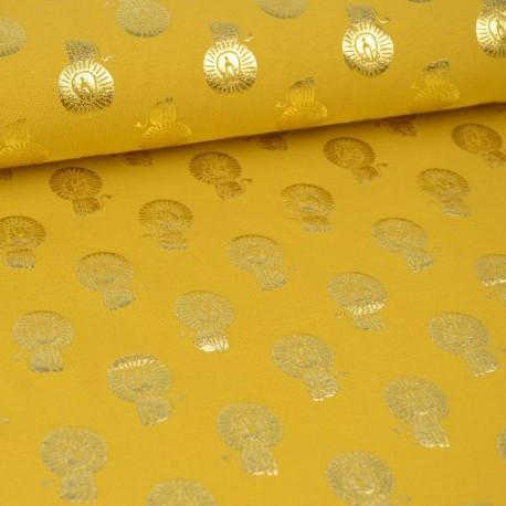 Tissu jersey Oeko tex motifs Lions cuivrés fond Moutarde