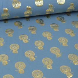 Tissu jersey Oeko tex motifs Lions cuivrés fond Bleu
