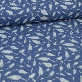 Tissu jean's imprimé plumes