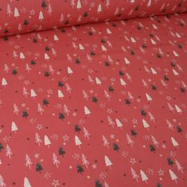 Tissu coton imprimé sapins fond rouge et Or. Oeko tex