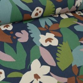 Tissu Toile de coton Canva imprimé feuilles marron, vieux rose et vert fond bleu indig