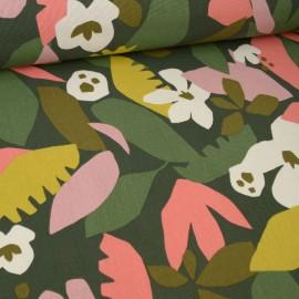 Tissu Toile de coton Canva imprimé fleurs et feuilles fond Kaki