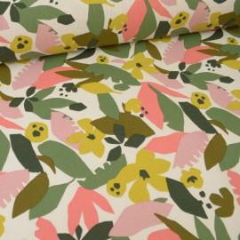 Tissu Toile de coton Canva imprimé feuilles corail et rose fond ecru