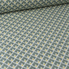 Tissu coton imprimé écailles - Kaki