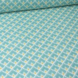 Tissu coton imprimé écailles -bleu lagon
