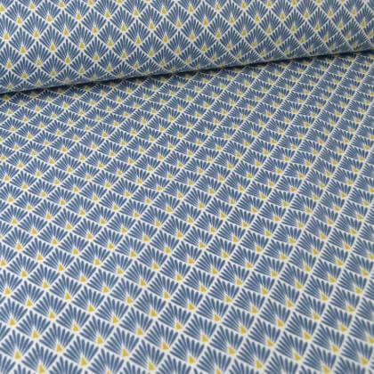 Tissu coton imprimé écailles - Pétrole