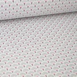 Tissu coton imprimé éventails écailles - Argent