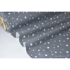 Tissu coton imprimé dessin étoiles multi anthracite .x1m