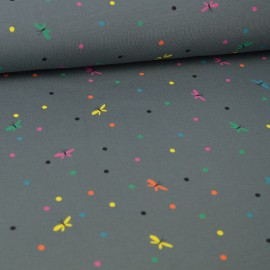 Tissu jersey Oeko tex motifs Libellules et pois multicouleurs