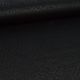 Tissu Jersey Scuba motif léopard noir ton sur ton