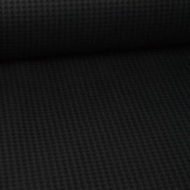 Tissu Jersey Scuba motif pied de poule Noir