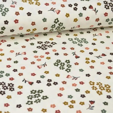 Tissu jersey Oeko tex motifs petites fleurs d'automne