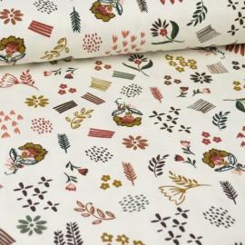 Tissu jersey Oeko tex motifs fleurs d'automne