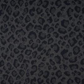 Tissu Jersey jacquard motif Léopard fond Noir et blanc