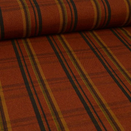 Tissu aspect drap de laine à rayures fond Rouille - tomette