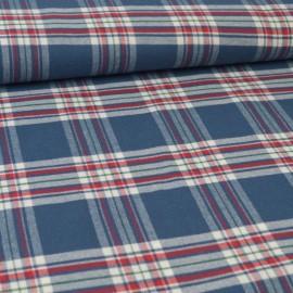 Tissu Flanelle à carreaux Bleu et rouge
