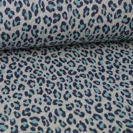 Tissu jersey french terry Lurex Turquoise et gris motif Léopard