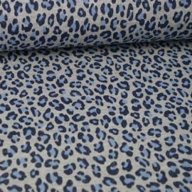 Tissu jersey french terry Lurex Bleu et gris motif Léopard - Oeko tex