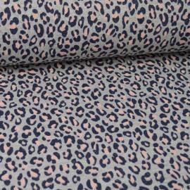 Tissu jersey french terry Lurex Rose et gris motif Léopard - Oeko tex