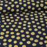 Tissu crêpe georgette motif Pois jaune fond Bleu marine