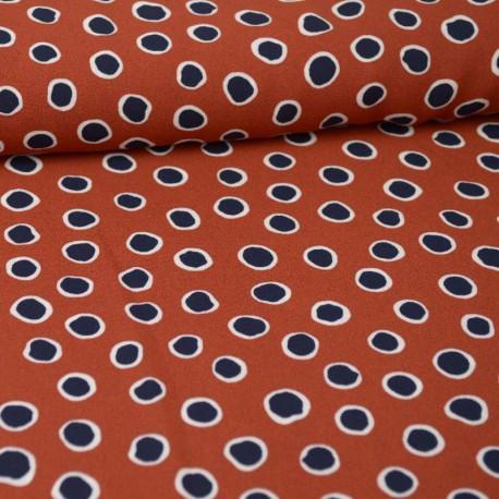 Tissu crêpe georgette motif Pois marine fond Terracotta