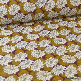 Tissu coton imprimé Nénuphar Ambre
