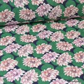 Tissu coton imprimé Nénuphar Rose et vert